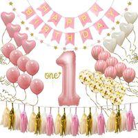 Alles Gute zum ersten Geburtstag Party Dekoration Set Geburtstag Hut Banner Flag Topper Luftballons Kit Baby Jahrestag Luftballons Alles Gute zum Geburtstag Banner