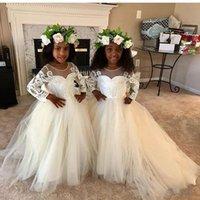 2020 neue Strand-Blumen-Mädchen-Kleider Boho Erstkommunion Kleid für kleine Mädchen mit V-Ausschnitt Langarm-A-Linie preiswerte Kinder Brautkleid