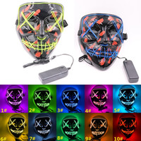 Hot 10 Colori EL Wire Ghost Mask Slit Bocca Bocca Glowing Up Glowing Maschera Led Halloween Cosplay Glowing Led Mask Maschere da partito WCW675