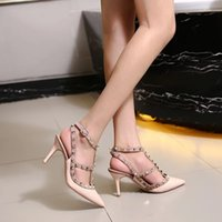 Designer women high heel sandals party fashion rivets girls ...