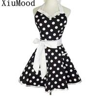 XiuMood Retro Lindo vestido de delantal de camarero sexy con bolsillo de algodón blanco encaje Negro lunares cocina