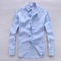 이탈리아 순수한 린넨 셔츠 남자 여름 긴 소매 남자 셔츠 단단한 캐주얼 셔츠 남자 클래식 셔츠 망 아마 ichice