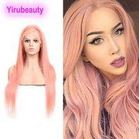 Малайзии человеческие волосы 13x4 кружева передние парики прямые светлые розовые синие красные кружевные парики с младенцем волос чистый цвет 12-32 дюйма