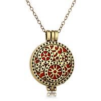 Antique Brass Punk передач Ароматерапия Эфирное масло Диффузор Locket Pendan цепи ожерелье 5 колодки Духи ювелирные подарки для женщин Оптовая