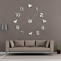Different Dog Breeds Puppy Dogs DIY Large Wall Clock Pug Pit...