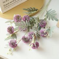 9Heads tallo largo bola de la flor diente de león rama de plástico con hojas de las flores artificiales de la decoración del jardín falsos plantas de flor