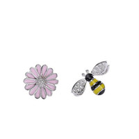 Produits phares Daisy Bee Coloré Enamal 100% Solide Bijoux en Argent Sterling 925 Boucles d'oreilles en gros 5 paires / lot