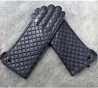Fashion-inverno Guanti superiori di marca di modo originale di lusso del cuoio genuino classico diamante della grata guanti dito calda e morbida pelle di pecora