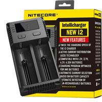 100% saída Authentic Nitecore New I2 Carregador Para 1000mAh Max Charger Intellicharger Para 18650 14500 26650 Li-ion / IMR / LiFePO4 bateria LG HG2
