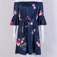 2017 New elegante High Street estate delle donne del chiarore del manicotto dalla spalla di Boho Dress Casual floreale Beach breve mini vestito Sundress