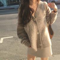 Nuove donne invernali cardigan cappotto sciolto manica lunga spessa mohair maglione casual femmina solido maglia maglione cappotto