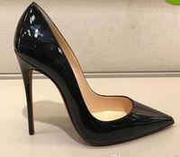 Usine! Femmes noires en peau de mouton nue cuir brevet POINT TOE FEMMES Pompes, 120mm Mode Lred Bas High High talons Chaussures pour chaussures de mariage pour femmes