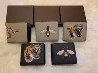 Высококачественные мужские животные короткие кошельки кожи черный змеиный тигр пчелиные кошельки женщины длинный стиль кошельки кошельки держатели карт с подарочной коробкой