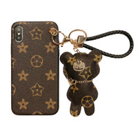 Luxury Phone Case With keychain Cartoon hanging for iPhone X...