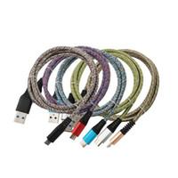 3FT خيارات الشحن معدن موصل مزين نايلون نوع النسيج ج USB ج بيانات USB مصغر شحن كابل لسامسونج LG الروبوت الهاتف