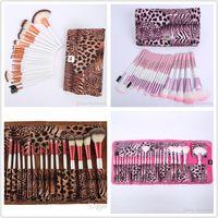 24 Pcs Maquillage Pinceaux Ensemble De Haute Qualité Pro Blush Fondation Poudre Pinceau Kit Cosmétique Beauté Outils Avec Leopard PU Sac De Cuir Cas epacket