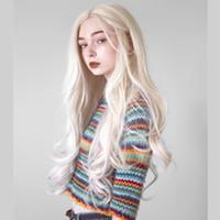 2019 perucas de cabelos longos Platinum loira peruca com cabelo bebê sintético renda dianteira peruca sem glútura resistente a calor perucas para mulheres