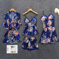4Pcs Brand Sleepwear Female Sets for women lace silk satin p...