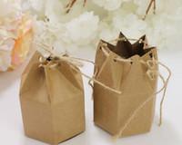 도매 50 PCS / 많은 DIY 7 * 4 * 9CM 크래프트 판지 선물 상자 육각 판지 브라운 사탕 상자 당 무료 배송 용품