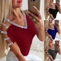 V Yaka Uzun Kollu Bayan Yaz 2020 Yeni Stil Gündelik Giyim 5XL Kadın Seksi Desinger Payetler tişörtleri