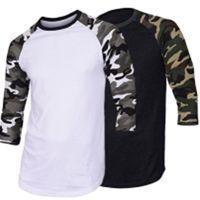 لربيع وصيف التمويه الطباعة أزياء قميص خليط 3/4 كم س الرقبة عارضة تي شيرت للرجال القمم المحملة C19041602