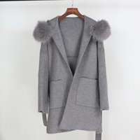 OFTBUY 2020 Real Fur Coat Winter Jacket Women Loose Natural Fur Collar Cashmere Wool Blends Outerwear Streetwear Oversize