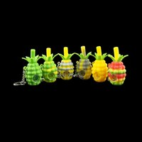 Colored pineapple keychain Hand Pipe unbreakable silicone sm...