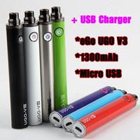 Hot UGO V3 III eGo 1300mAh Bateria Vape Pen EVOD Micro USB Pass Through eCig inferior carregador de bateria 510 Tópico com carregador USB