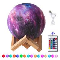 15 СМ 3D Отпечатано Звездное Небо Планета Лампа Луна Лампа 3/16 Цветов Светодиодные Night Light Galaxy Лампы Спальня Декор Творческий Подарок