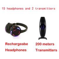 15pcs RF casque sans fil avec 2 canaux et LED pour Silent Disco casque et 2 émetteur