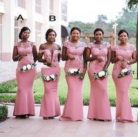 Элегантные русалки с короткими рукавами невесты платья платья платья кружева длиной до пола южноафриканский свадьба гостевая горничная честь платья
