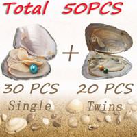 50PCS Ostras rodada pérolas de água doce Shell Individual + Gêmeos Grau mistura de cores Beads alto para festa de jóias