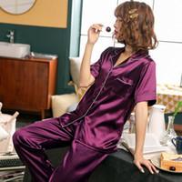 FallSweet Женская пижама Set Sexy Silk Satin отложной воротник Nightgown Пижамы с коротким рукавом плюс размер CX200703