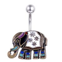 Vintage Éléphant Mignon Petit Nombril Nombril Anneaux En Acier En Verre Barres De Positionnement En Verre Personnalisé piercing Bijoux