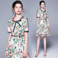 Hochwertige Damenmode Print Patchwork Schal Bogen Designer Party Kleider Büro Damen Kurzarm Sexy Slim Floral Bedrucktes Kleid