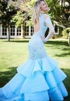 Longa sereia vestido de baile manga comprida on-line elegante noite formal vestidos com laço azul applique sexy backless cocktails vestidos p024