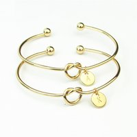 Kız Alfabe Bileklik 26 İngiliz Başlangıç Harfler Düğümlü Kalp Bilezik Pembe Altın Gümüş Erkekler Kadınlar yuvarlak kolye Knot Charm Takı Hediye