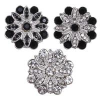 5pcs / lot al por mayor botón rápido joyería Cristal Flores 18mm Snap Fit Botones de plata de 18 mm broches pulseras brazalete