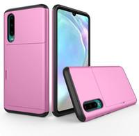 Für Huawei P20 P30 Pro Slide Rüstung Wallet Card Slots Fall für Huawei P-Smart-2019 Telefon