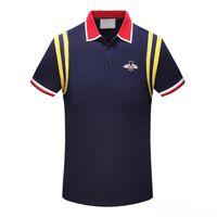 İtalyan moda klasik lüks tasarımcı yeni erkek polo gömlek kısa kollu pamuklu arı nakış mektupları erkek polo gömlek