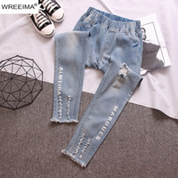 Sexy Fashion Women Denim Pants Hole Design Letter Printing T...