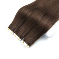 Reysaina 20inch bande dans les extensions Medium Brown # 4 50G 20pcs transparente peau Trame Remy Ruban droit dans les extensions de cheveux humains Remy