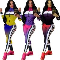 Women designer jacket legging outfits two piece set tracksui...