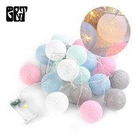 GT 20 LED Cotton Ball Fairy String Lights Battery Box Christ...