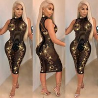 2019 cor preta espumante diamantes pura malha bodycon dress gola mangas bandage midi night club vestidos de festa vestidos outfits
