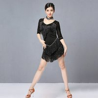 Sahne Giymek 2021 Kadınlar Dans Giysileri Balo Salonu Elbise Samba Kostüm Partisi Elbiseler Sheer Mesh Sıkı Sequins Fringes Latin Kolye