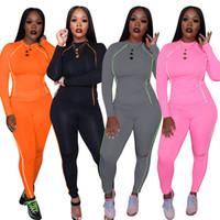 조깅 스포츠 바지를 실행하는 새로운 편안한 여성은 O 목 긴 소매 티셔츠 + 스키니 팬츠를 설정 가을 나이트 클럽 두 조각 운동복 4 C