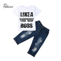 Pudcoco Kleidung Set für Kleinkind-Baby-beiläufige kurze Hülsen Wie ein Chef-T-Shirt Tops + zerrissene Jeans-Hosen 2ST Kinder Outfits
