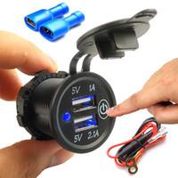 5V 2.1A / 1A mechero USB cargador doble toma de corriente Adaptador de enchufe con el interruptor táctil para el carro del coche de la motocicleta del barco