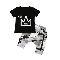 Newborn Kids Baby Boys Crown Print Tops T-shirt Camouflage Shorts Pants 2PCS Outfits Set Clothes 0-5T 2 Color Baby Boy Clothes